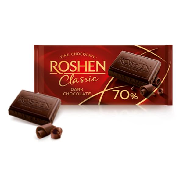 Roshen - Ciocolată Classic Dark 70%, 90 gr.