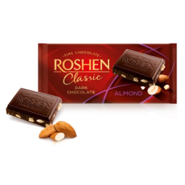 Roshen - Ciocolată Classic Dark Salted Almonds 90 gr.