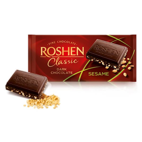 Roshen - Ciocolată Classic Dark Sesame 90 gr.